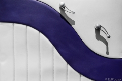 white car door with purple curve 2 handles