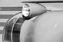 old car fender headlight and grille with curves