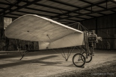 vintage beriot xi airplane in hanger